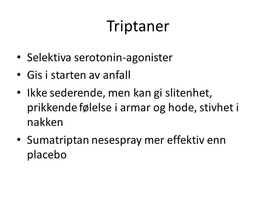 Triptaner Selektiva serotonin-agonister Gis i starten av anfall
