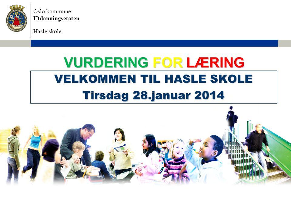 VELKOMMEN TIL HASLE SKOLE Tirsdag 28.januar 2014