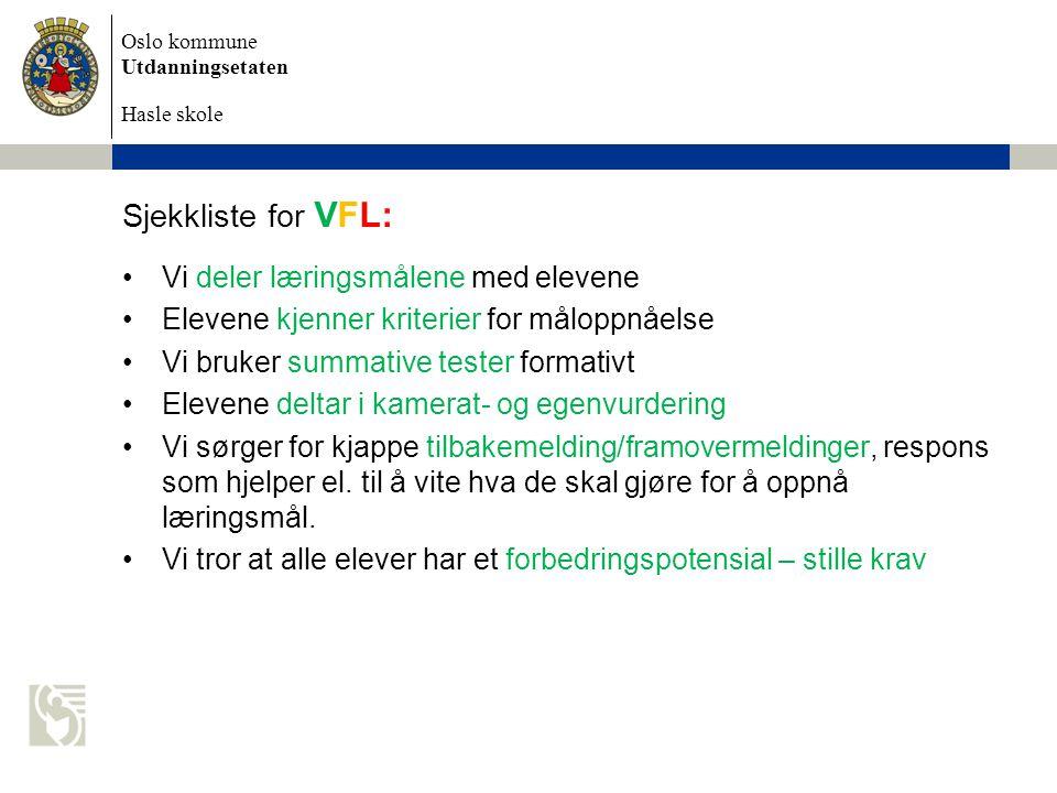 Sjekkliste for VFL: Vi deler læringsmålene med elevene