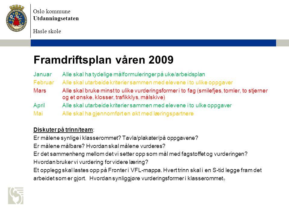 Framdriftsplan våren 2009 Januar Alle skal ha tydelige målformuleringer på uke/arbeidsplan.