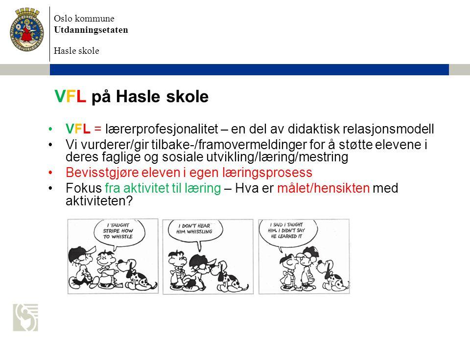 VFL på Hasle skole VFL = lærerprofesjonalitet – en del av didaktisk relasjonsmodell.