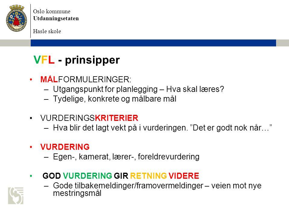 VFL - prinsipper MÅLFORMULERINGER: