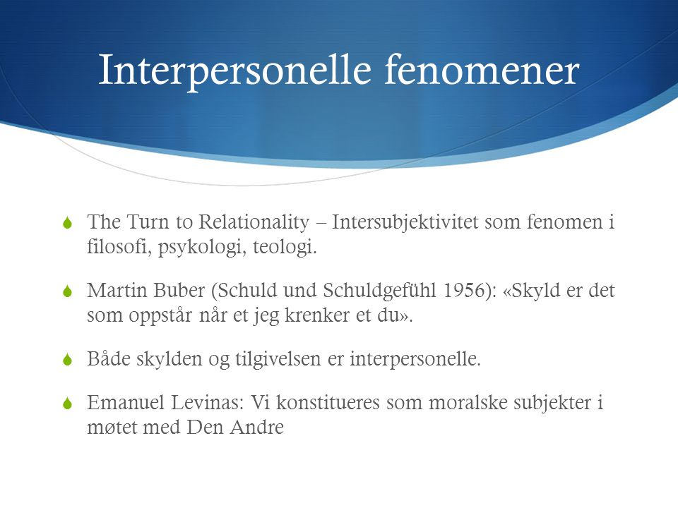 Interpersonelle fenomener