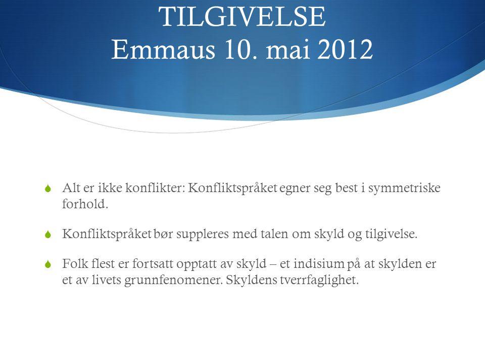 TILGIVELSE Emmaus 10. mai 2012 Alt er ikke konflikter: Konfliktspråket egner seg best i symmetriske forhold.