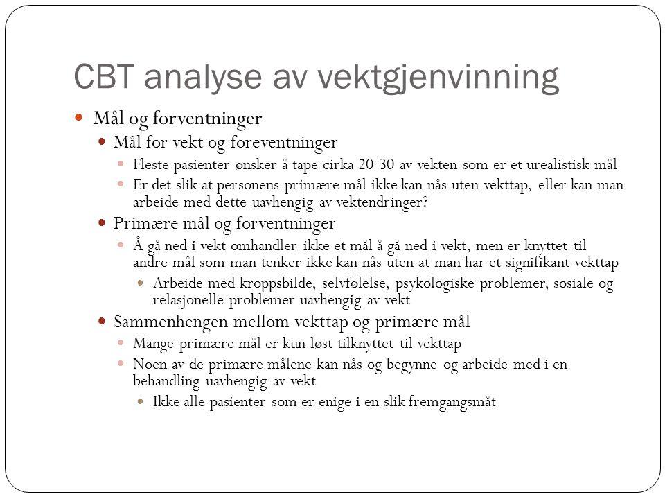 CBT analyse av vektgjenvinning