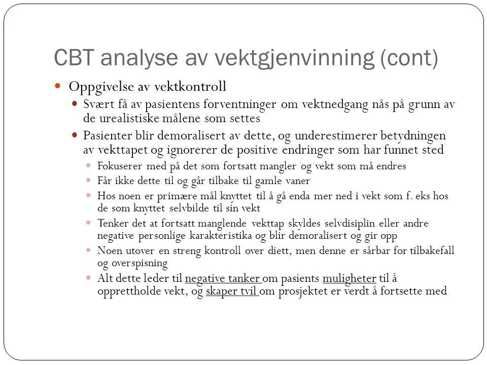CBT analyse av vektgjenvinning (cont)