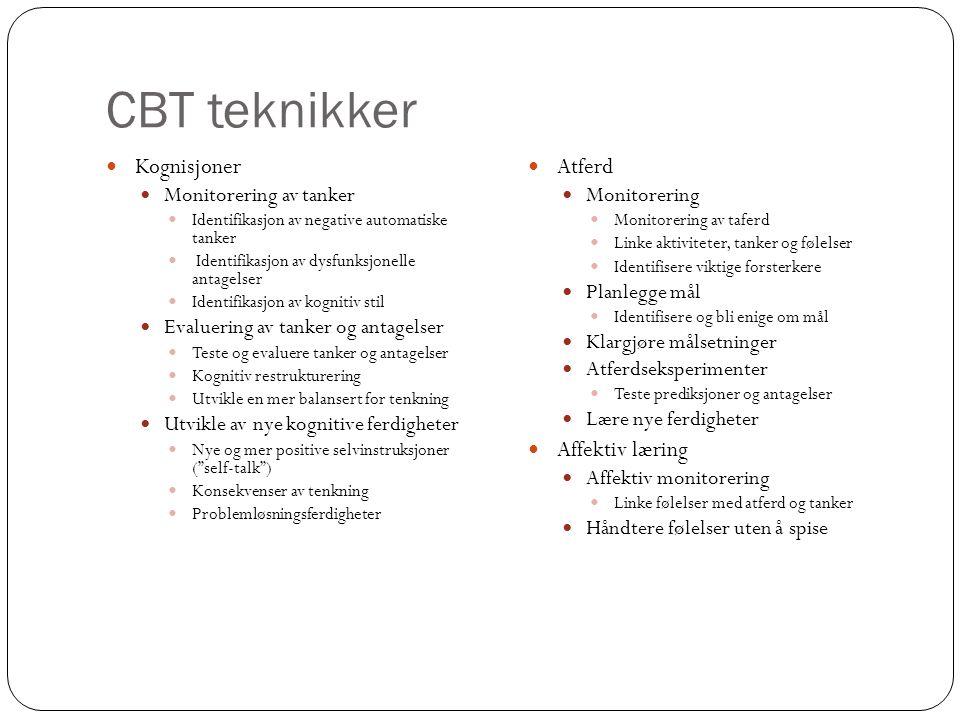 CBT teknikker Kognisjoner Atferd Affektiv læring