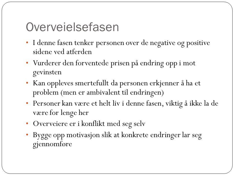 Overveielsefasen I denne fasen tenker personen over de negative og positive sidene ved atferden.
