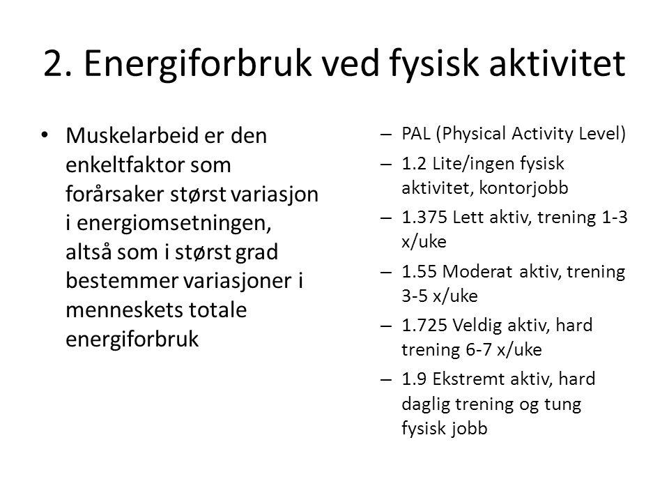 2. Energiforbruk ved fysisk aktivitet