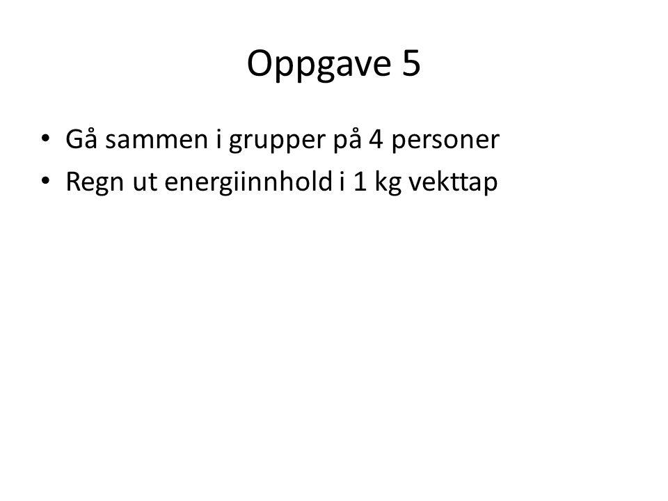 Oppgave 5 Gå sammen i grupper på 4 personer