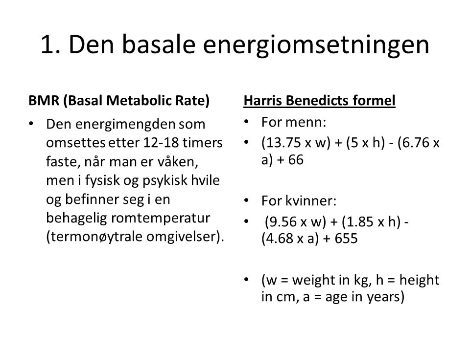 1. Den basale energiomsetningen