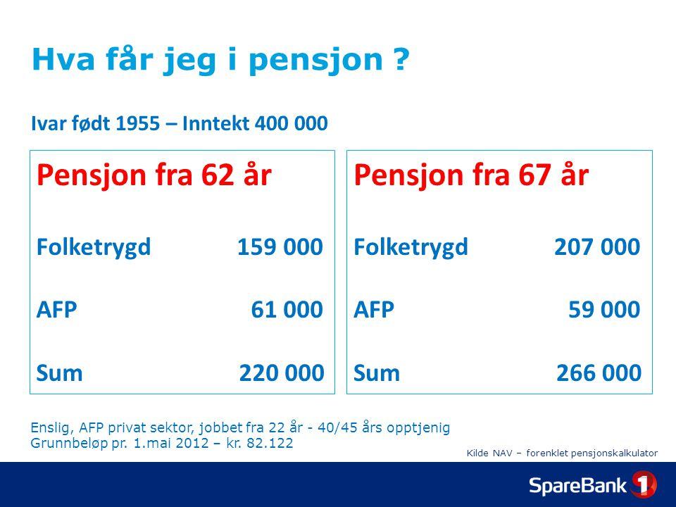Kilde NAV – forenklet pensjonskalkulator