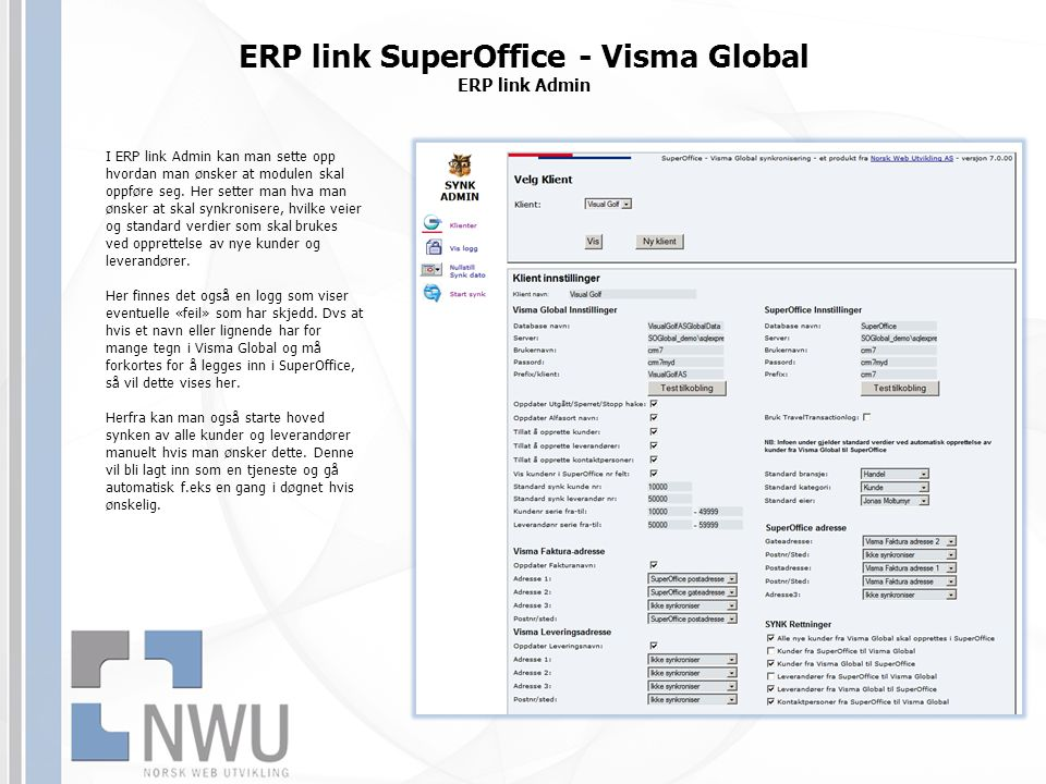ERP link SuperOffice - Visma Global ERP link Admin