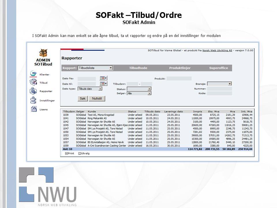 SOFakt –Tilbud/Ordre SOFakt Admin