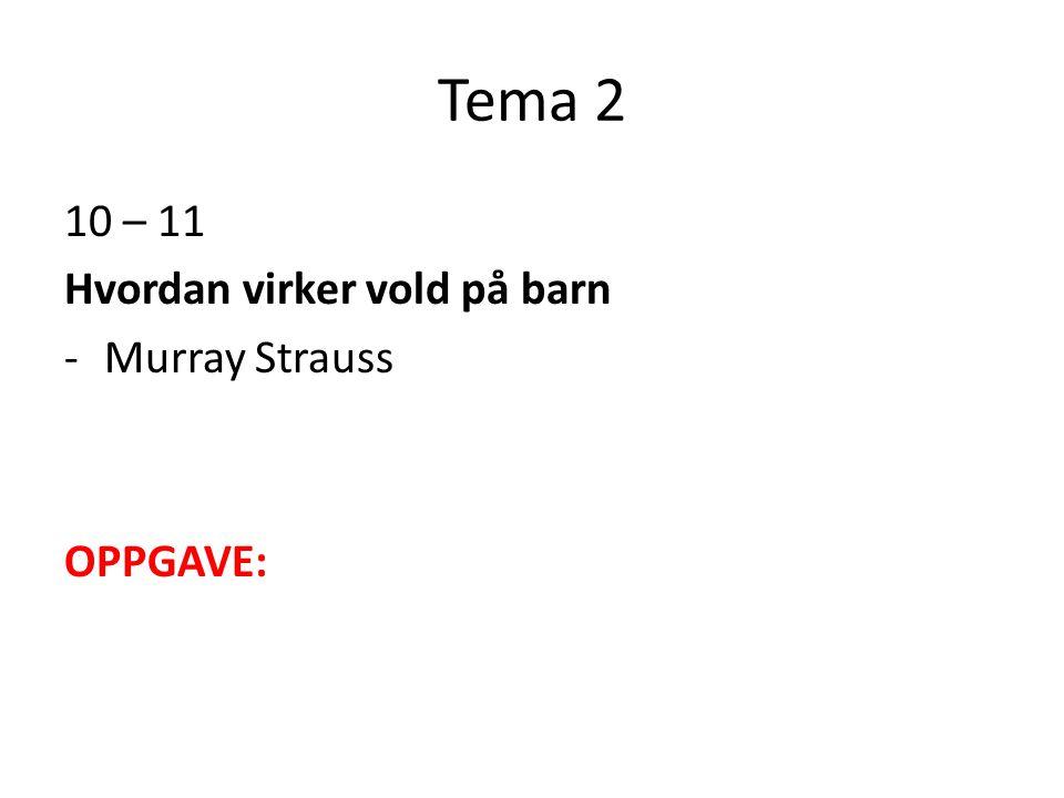 Tema 2 10 – 11 Hvordan virker vold på barn Murray Strauss OPPGAVE: