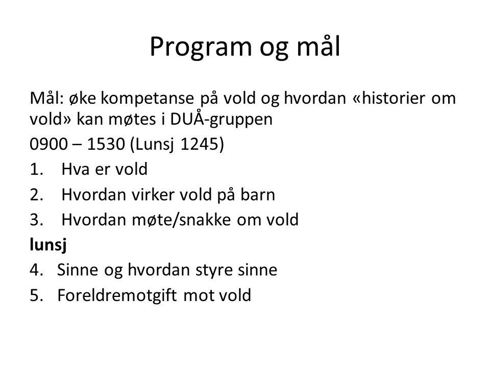 Program og mål Mål: øke kompetanse på vold og hvordan «historier om vold» kan møtes i DUÅ-gruppen. 0900 – 1530 (Lunsj 1245)