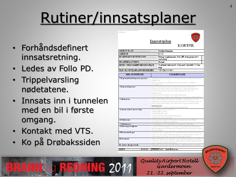 Rutiner/innsatsplaner