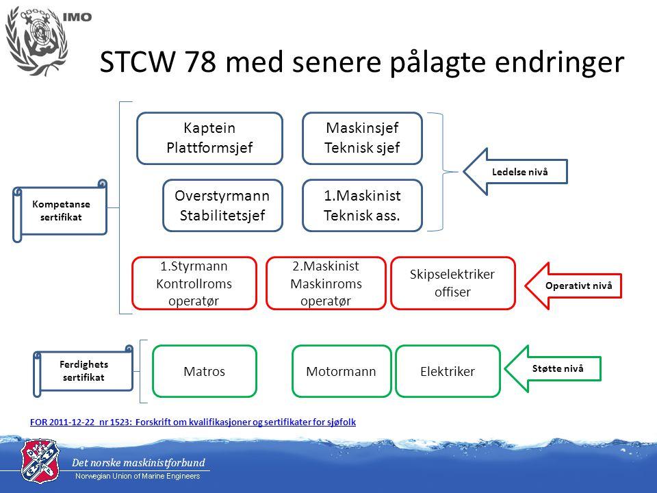 STCW 78 med senere pålagte endringer