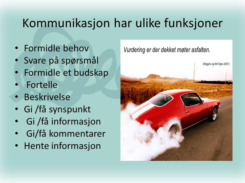 Kommunikasjon har ulike funksjoner