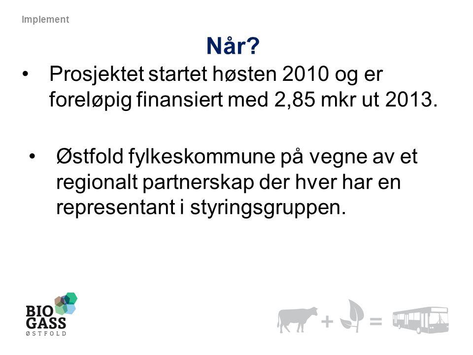 Implement Når Prosjektet startet høsten 2010 og er foreløpig finansiert med 2,85 mkr ut 2013.