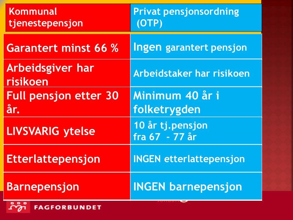Ingen garantert pensjon Arbeidsgiver har risikoen