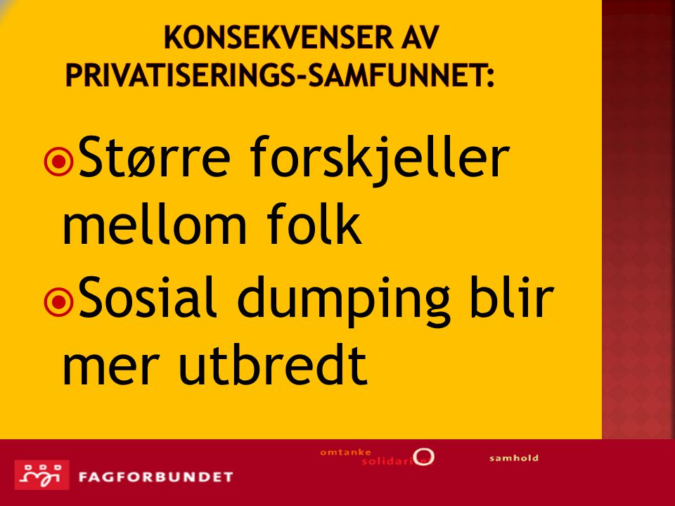 Konsekvenser av privatiserings-samfunnet: