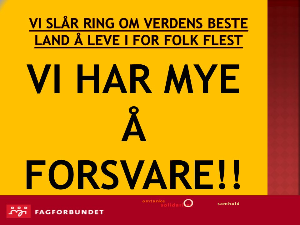 Vi SLÅr RING OM VERDENS BESTE LAND Å LEVE I FOR FOLK FLEST