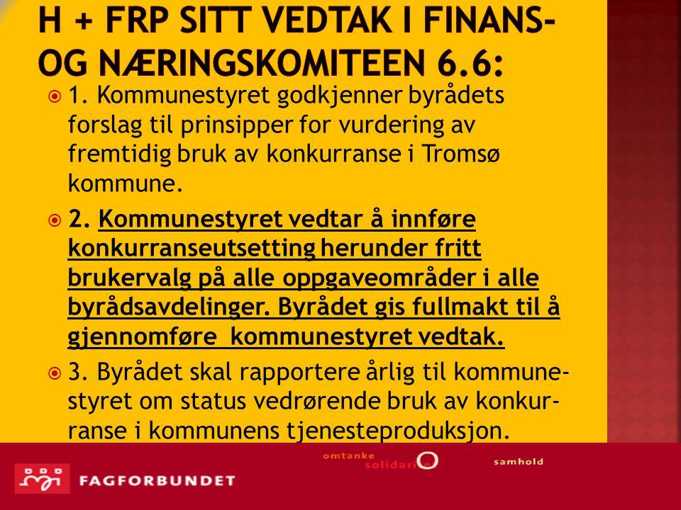 H + Frp sitt Vedtak i Finans- og næringskomiteen 6.6: