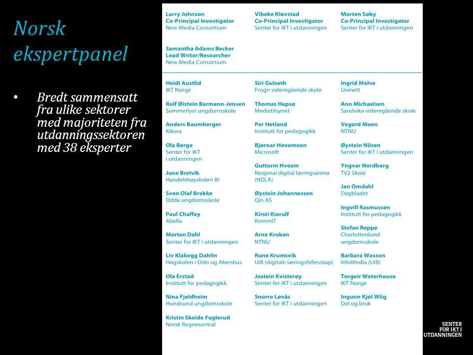 Norsk ekspertpanel Bredt sammensatt fra ulike sektorer med majoriteten fra utdanningssektoren med 38 eksperter.