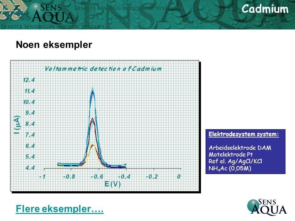 Cadmium Noen eksempler Flere eksempler…. Elektrodesystem system: