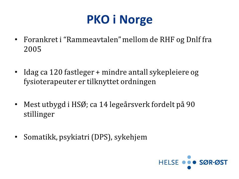 PKO i Norge Forankret i Rammeavtalen mellom de RHF og Dnlf fra 2005