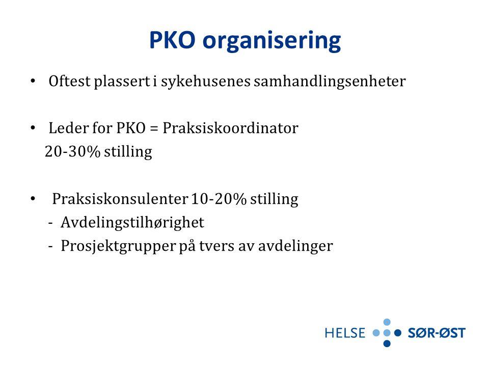 PKO organisering Oftest plassert i sykehusenes samhandlingsenheter
