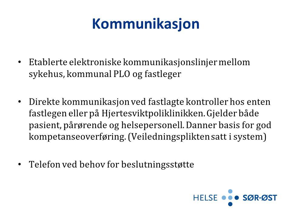 02.04.2017 Kommunikasjon. Etablerte elektroniske kommunikasjonslinjer mellom sykehus, kommunal PLO og fastleger.