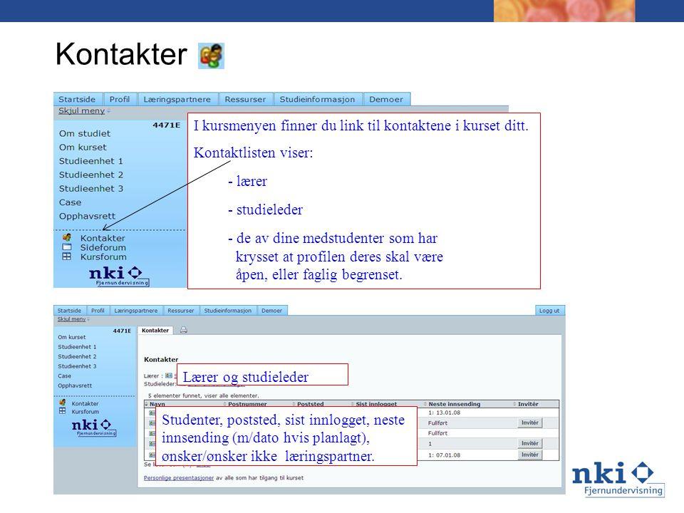 Kontakter I kursmenyen finner du link til kontaktene i kurset ditt.