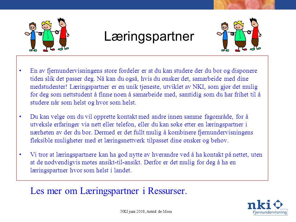 Læringspartner Les mer om Læringspartner i Ressurser.