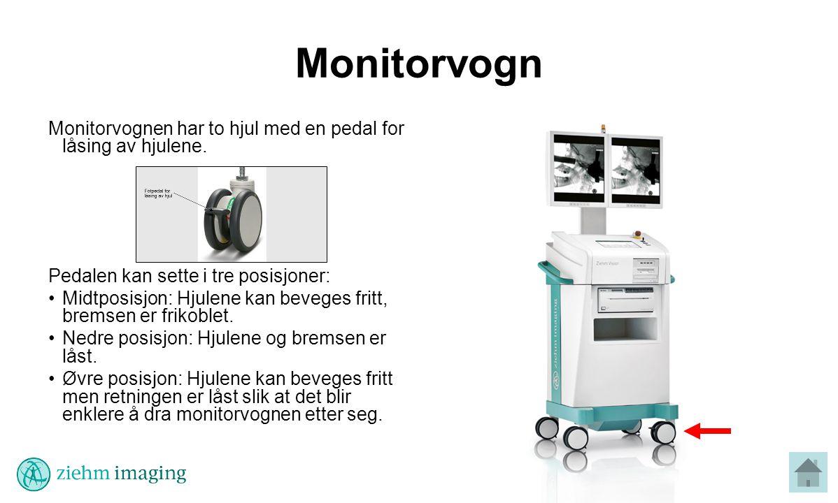 Monitorvogn Monitorvognen har to hjul med en pedal for låsing av hjulene. Pedalen kan sette i tre posisjoner:
