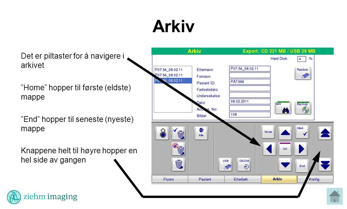Arkiv Det er piltaster for å navigere i arkivet