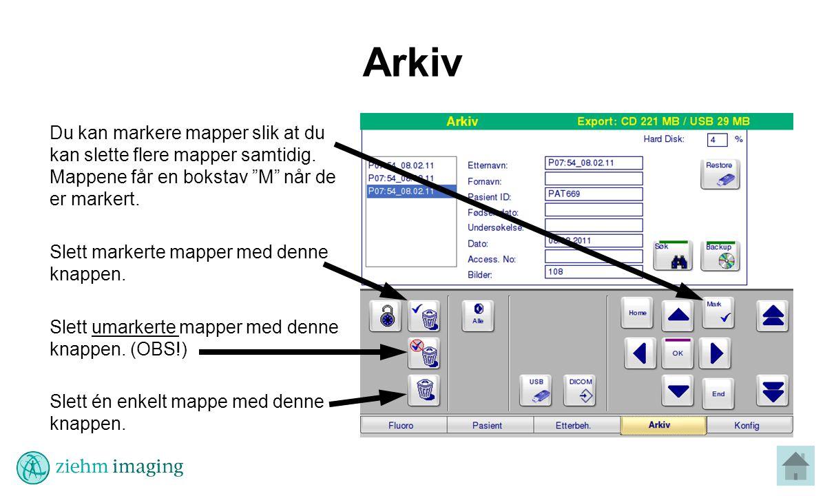 Arkiv Du kan markere mapper slik at du kan slette flere mapper samtidig. Mappene får en bokstav M når de er markert.