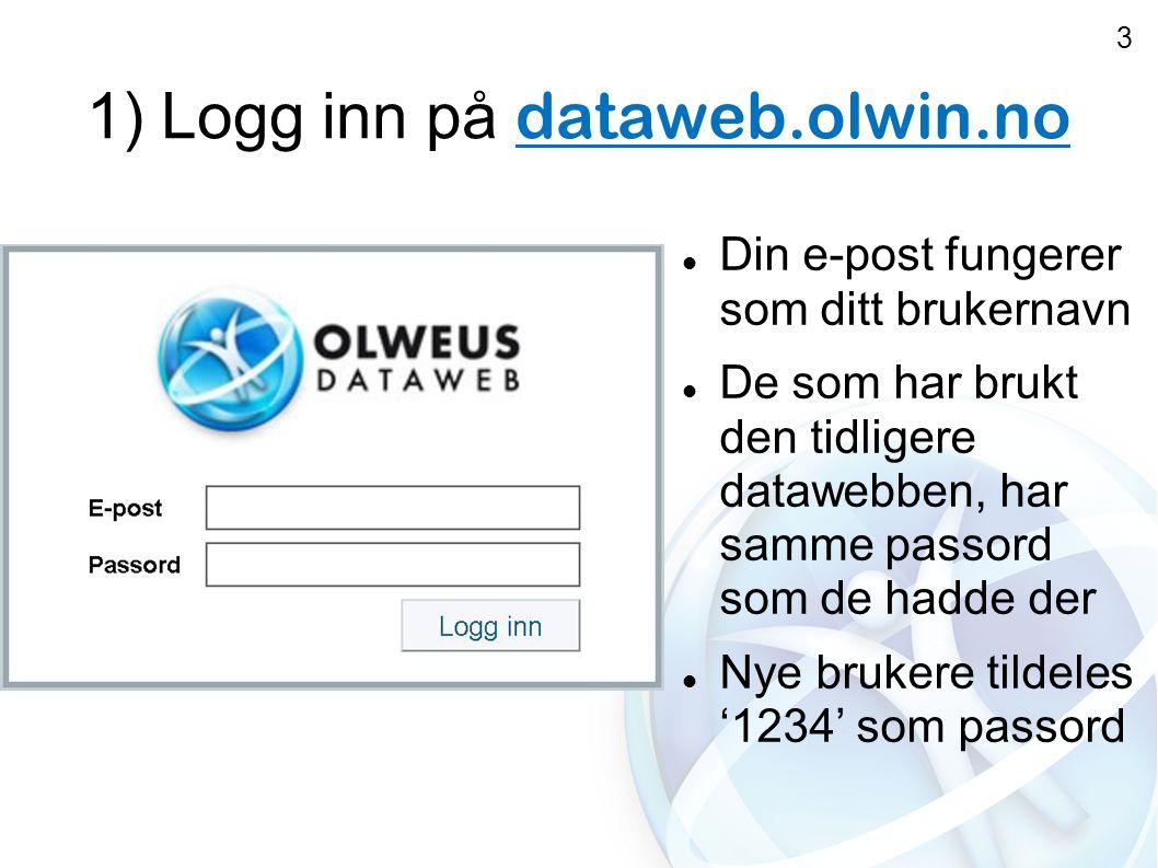 1) Logg inn på dataweb.olwin.no