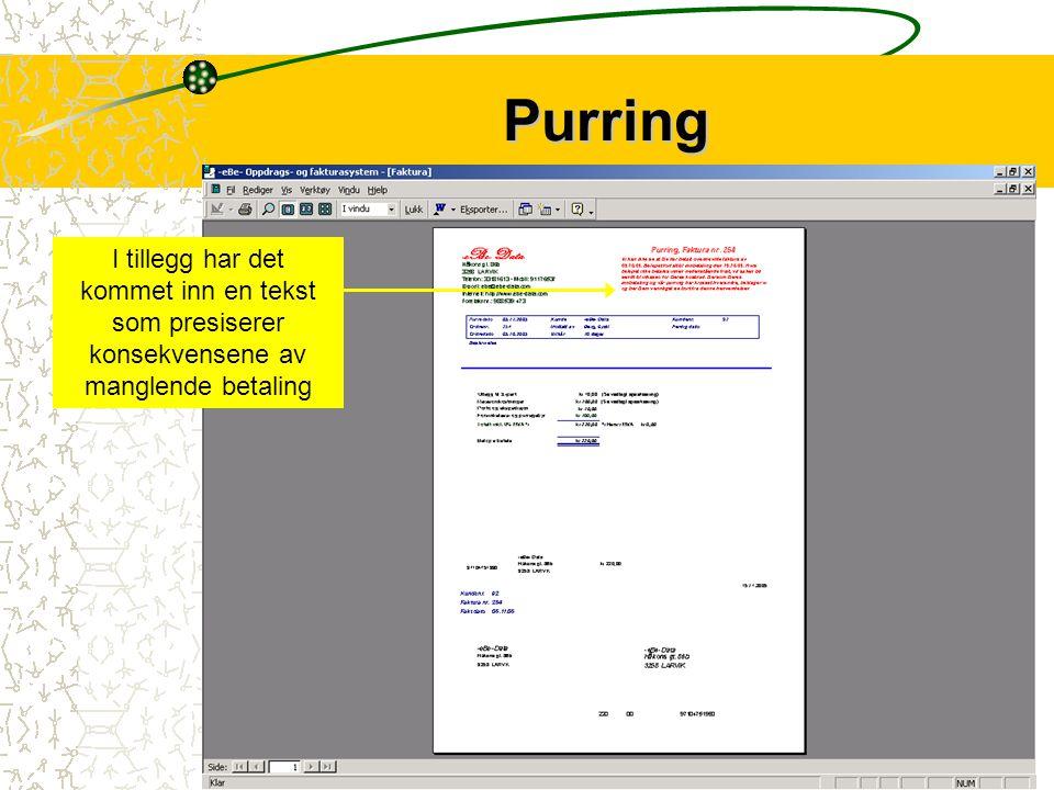 Purringen inneholder den samme info som fakturaen.