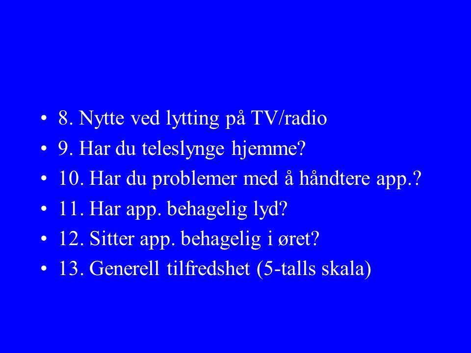 8. Nytte ved lytting på TV/radio