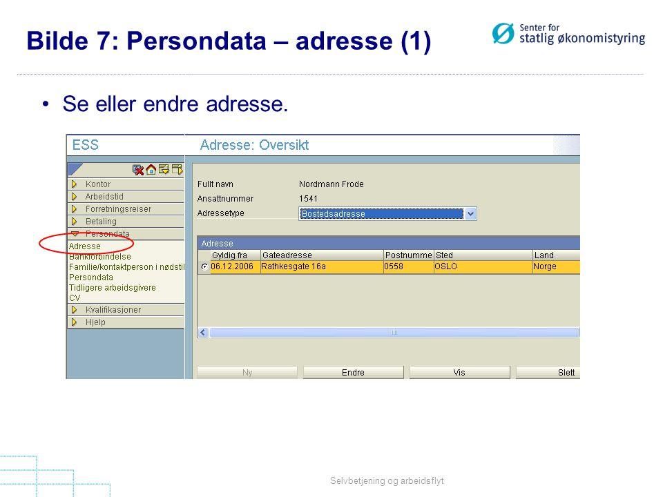 Bilde 7: Persondata – adresse (1)