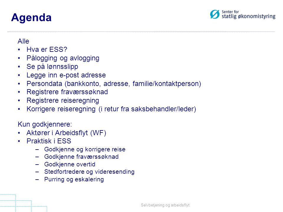 Agenda Alle Hva er ESS Pålogging og avlogging Se på lønnsslipp
