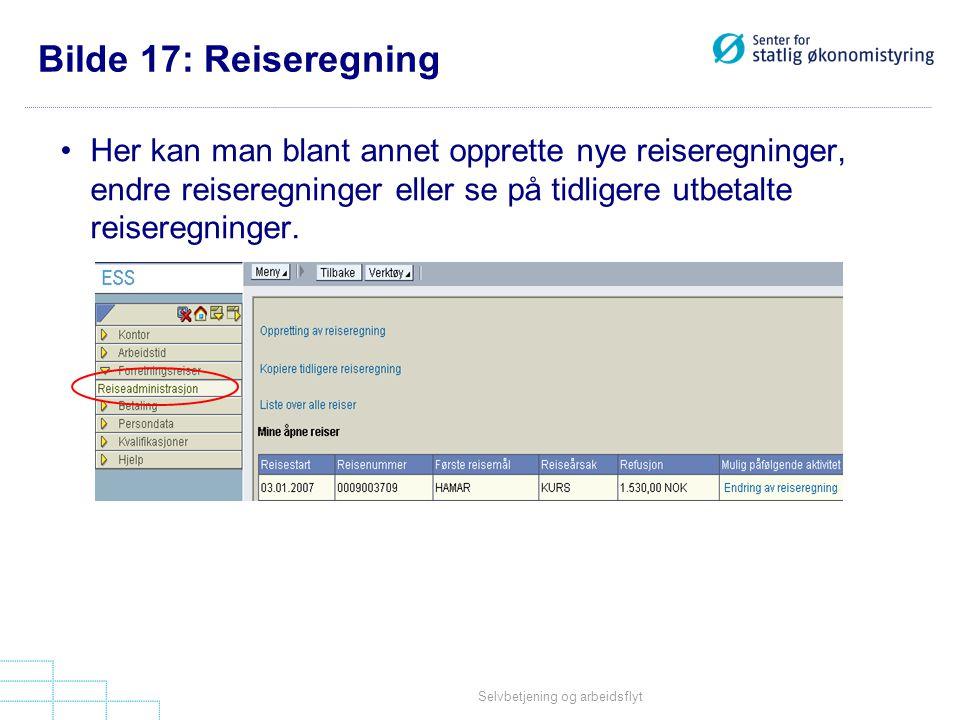 Bilde 17: Reiseregning Her kan man blant annet opprette nye reiseregninger, endre reiseregninger eller se på tidligere utbetalte reiseregninger.