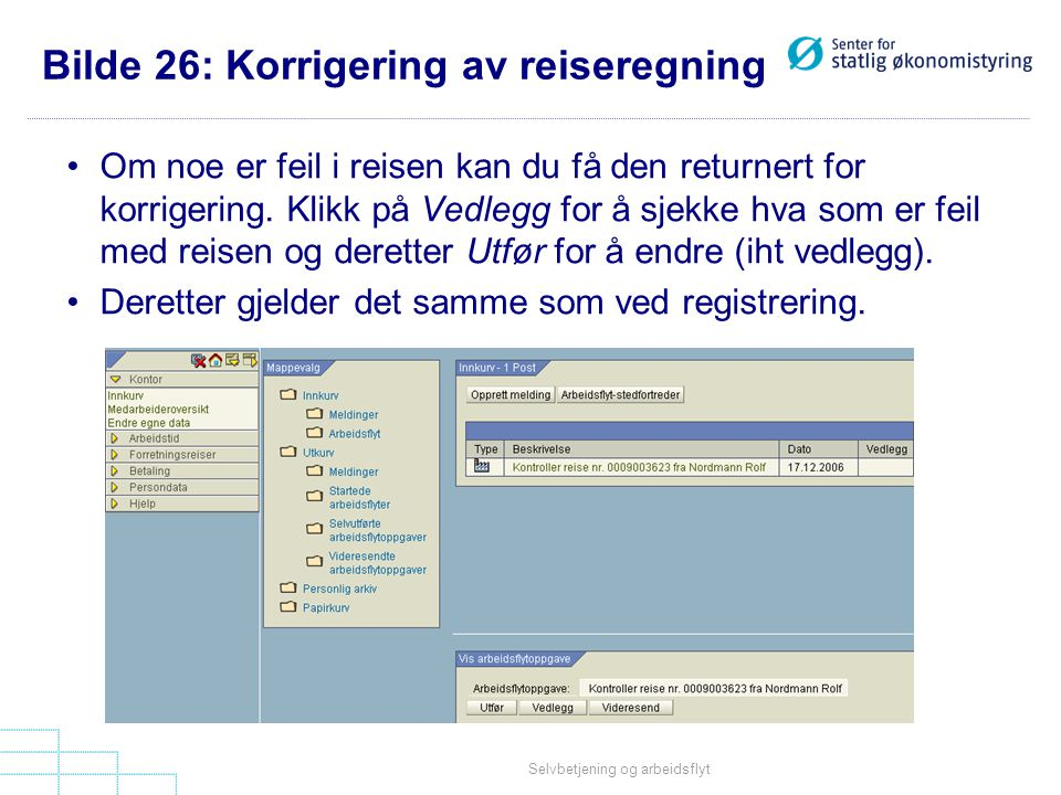 Bilde 26: Korrigering av reiseregning