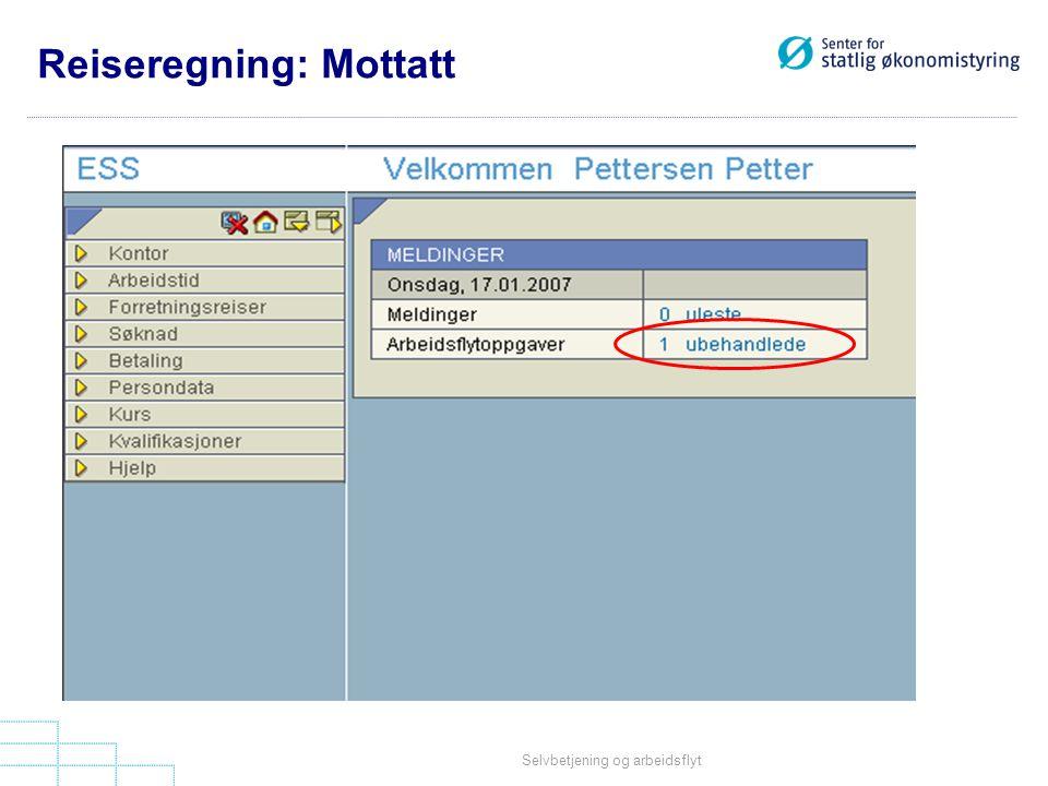 Reiseregning: Mottatt