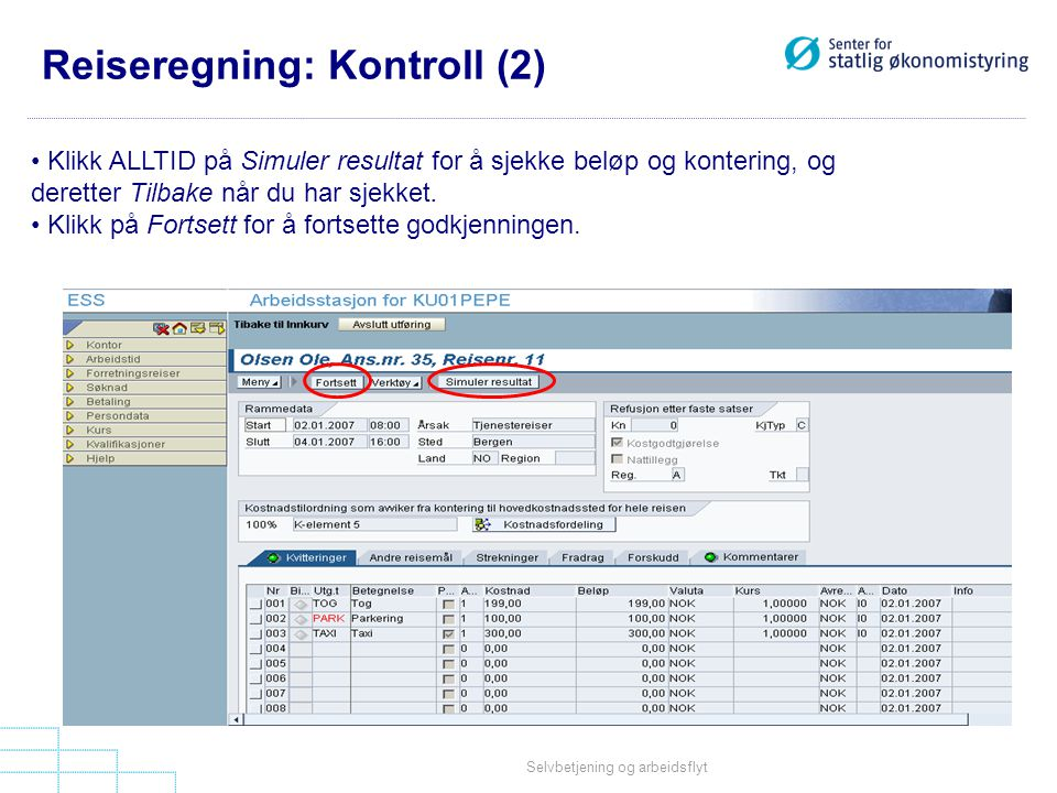 Reiseregning: Kontroll (2)