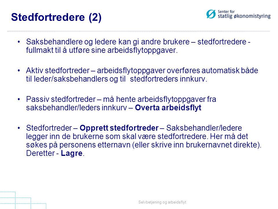 Stedfortredere (2) Saksbehandlere og ledere kan gi andre brukere – stedfortredere - fullmakt til å utføre sine arbeidsflytoppgaver.