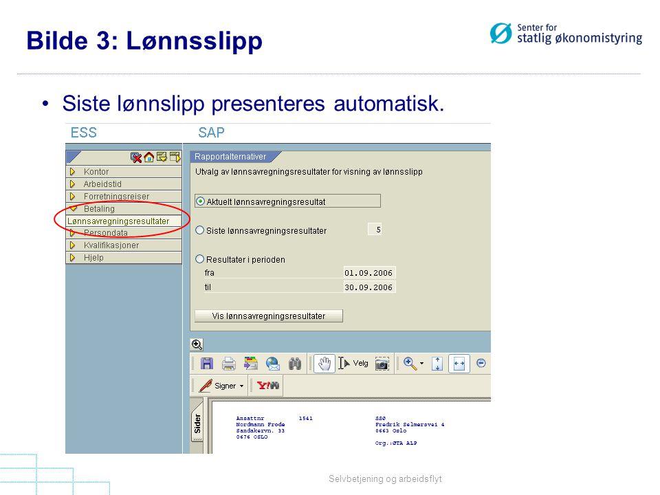 Bilde 3: Lønnsslipp Siste lønnslipp presenteres automatisk.
