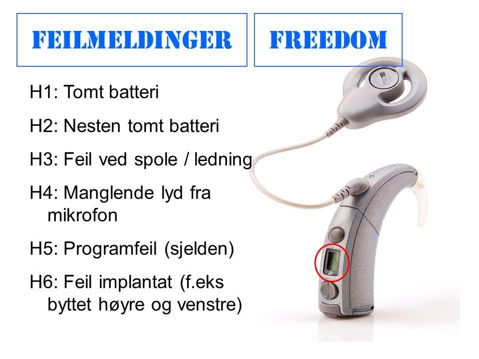 Feilmeldinger Freedom H1: Tomt batteri H2: Nesten tomt batteri